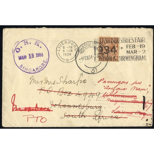 1106 - 1934 re-directed GB cover to South Africa & Mombasa, failing to connect with passenger at Singapore....