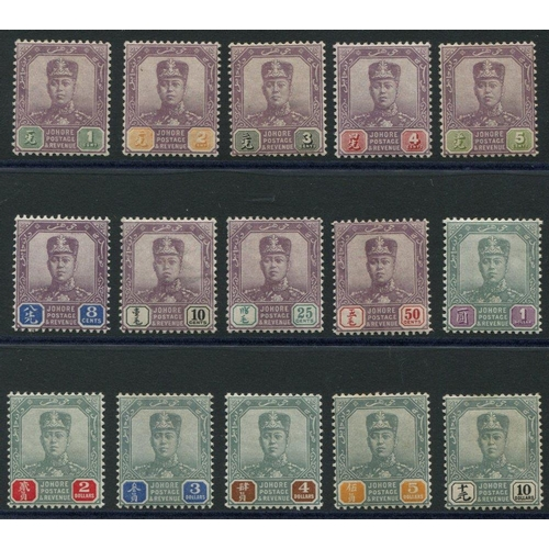 1112 - JOHORE 1904 set to $10, fresh M, SG.61/75. (15) Cat. £400...