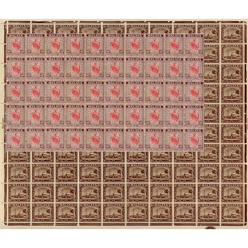 1116 - NEGRI SEMBILAN 1935-41 40c scarlet & dull purple, UM block of fifty, usual gum toning, SG.35. SELANG...