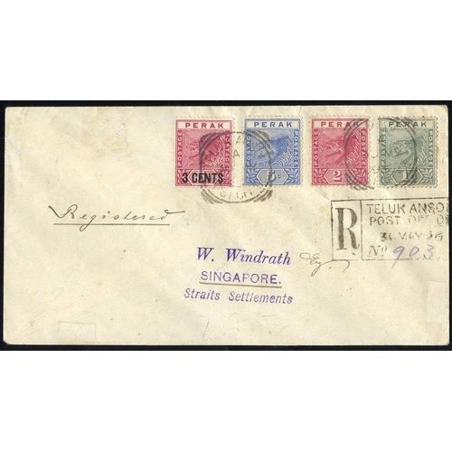 1120 - PERAK 1896 reg cover to Singapore franked 1c, 2c & 5c & 3c Surcharge, tied Teluk Anson squared circl...