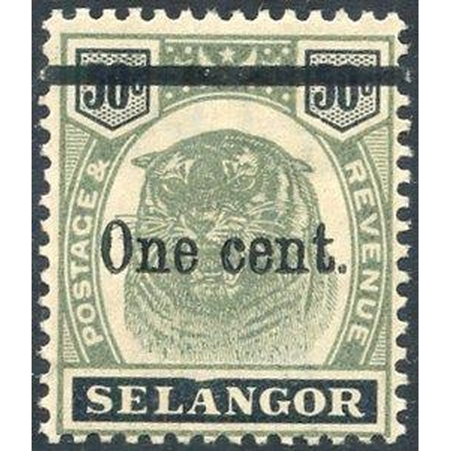 1121 - SELANGOR 1900 1c on 50c variety - dented frame, unused. SG.66bd. Cat. £275...