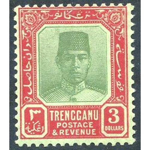 1123 - TRENGGANU 1921-41 $3 green & red/emerald, fine M, SG.24. (1) Cat. £130...