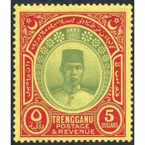 1124 - TRENGGANU 1938 MSCA $5 green & red/yellow, fresh M, SG.44. (1) Cat. £500...