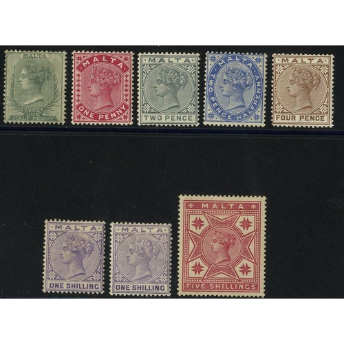 1134 - 1885-90 CCA set M incl. both 1s shades (note - ½d value is unused) SG.20/29, plus 1861 5s rose M SG....