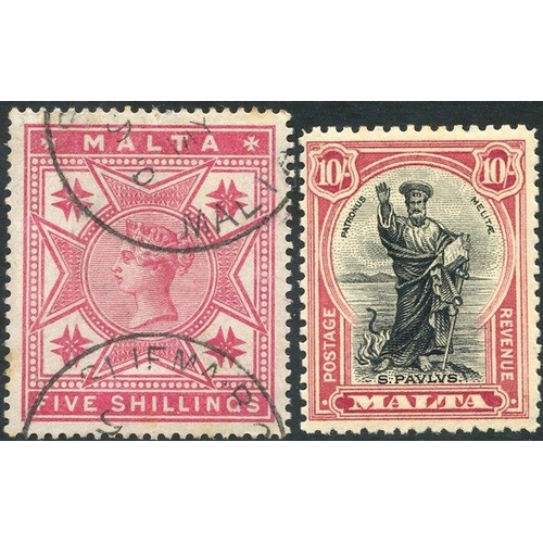 1135 - 1886 5s rose VFU, SG.30 & 1930 10s black & carmine fine M, SG.209 (2) Cat. £180...