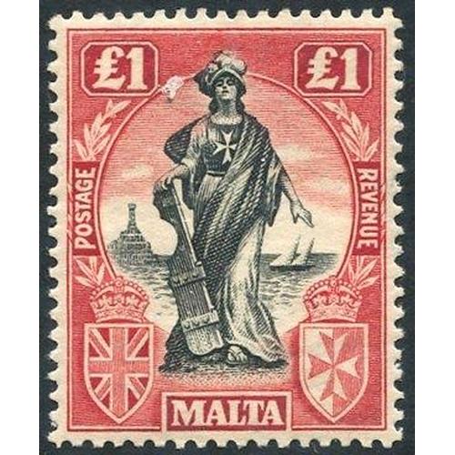 1140 - 1922-26 MSCA £1 black & carmine red wmk sideways, fine M, SG.139. (1) Cat. £150...