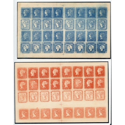1148 - 1847-59 Victorian composite sheets (2) in orange & blue each of 32 subjects with various combination...