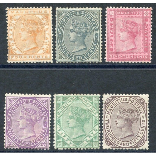 1153 - 1879-80 CCC 4c, 13c, 17c, 38c, 50c & 2r.50 (crease), all M or o.g, from SG.93/100. Cat. £600...