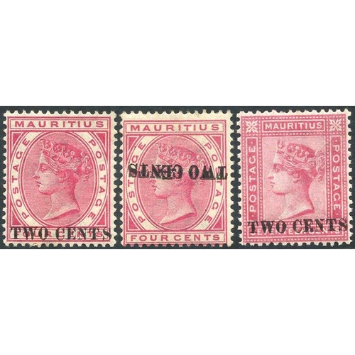 1157 - 1891 2c on 4c carmine, SG.118, also Surcharge Inverted, SG.118a, plus 2c on 17c rose, SG.119, fine M...