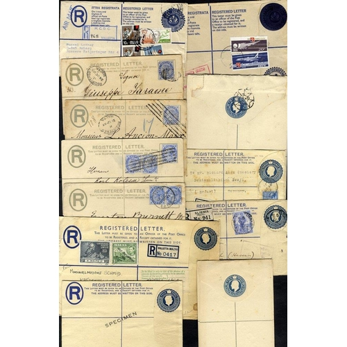 1158 - 1892-c1950 registered envelopes (26) incl. 10 optd SPECIMEN & 6 postally used, good to fine....