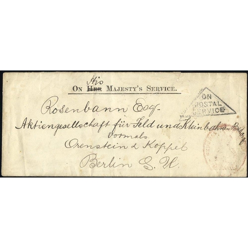 1161 - 1903 long OHMS cover to Berlin, triangular ON POSTAL SERVICE in black & red GPO cachet (which is rar...