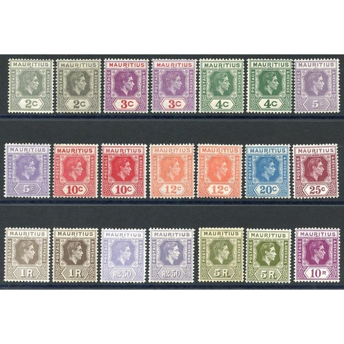 1164 - 1938-49 Defin set incl. most listed shades & perfs, fine M, SG.252/263. (21) Cat. £420+...