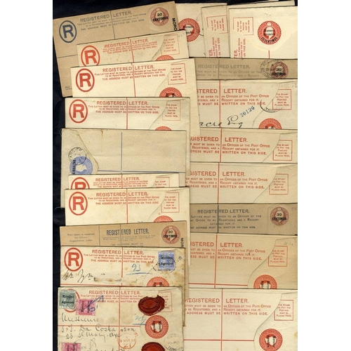 1170 - 1887-KGV range of registered stationery envelopes, 15 are unused & 6 are used (noted odd stamp has b...
