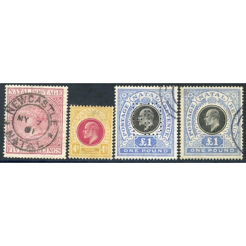 1175 - 1874 5s maroon FU with Newcastle double ring c.d.s (creasing) SG.71 (c £110), 1902-03 'POSTAGE REVEN...