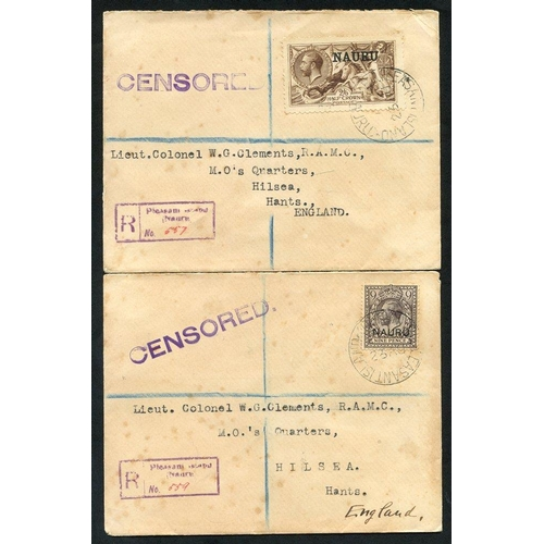 1177 - 1917 WWI reg. censored covers to R.A.M.C Lieut Colonel in England, PLEASANT ISLAND & boxed reg marks...