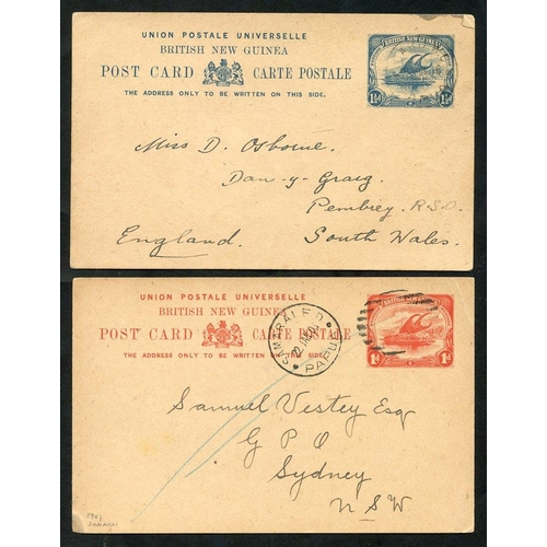1182 - 1908 1d stationery card used from Samarai to Sydney, cancelled by Samarai nine bar oval obliterator ...