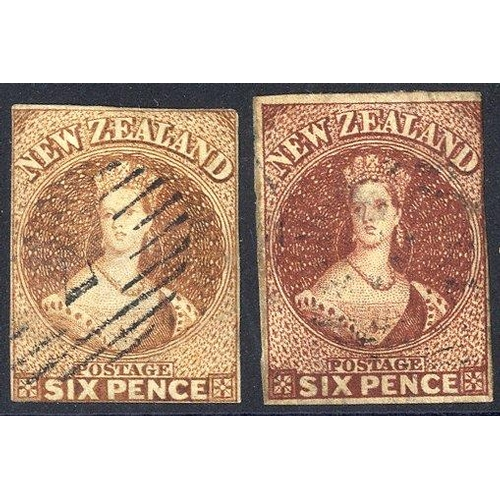 1195 - 1857-63 6d brown (SG.13), 1863-64 6d deep red-brown (SG.43), both FU with clear to touching margins....