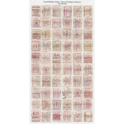 1199 - 1882 2nd Sideface to 1s U, plus Adsons 1d 2nd/3rd Settings, the four panes reconstructed U. (249) Ca...