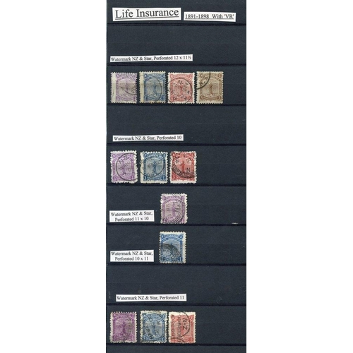 1201 - Life Insurance U collection on four large double sided stock leaves with 1891-98 P.12½ x 11½ to 3d, ...