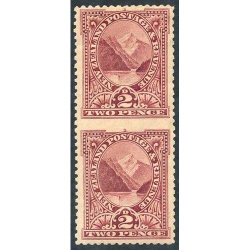 1203 - 1898 2d lake imperf between vertical pair, top stamp creased, & gum toned. SG.248ba. (1) Cat. £1400...