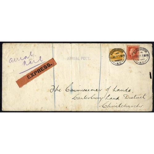 1207 - 1921 March 29th Canterbury Aviation Co. flight Ashburton - Christchurch, endorsed 'Aerial Mail' and ...