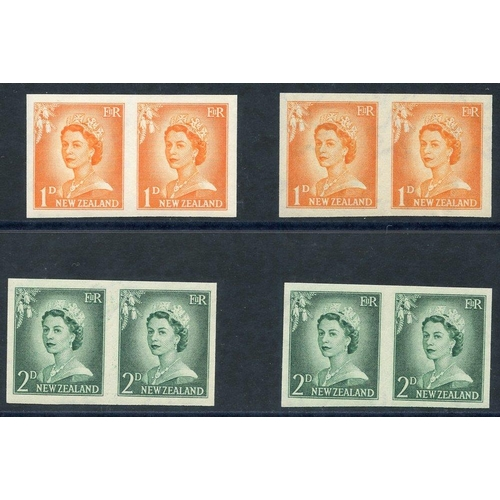 1213 - 1955-59 QEII defin imperforate pairs on gummed watermarked paper - 1d pairs (2) & 2d pairs (2), note...