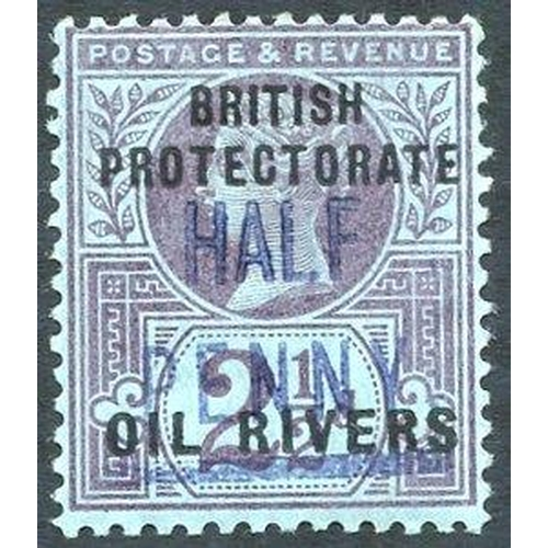 1228 - 1893 (Type 4) ½d in blue on 2½d purple on blue, M (trace of a crease at right - not affecting fine a...