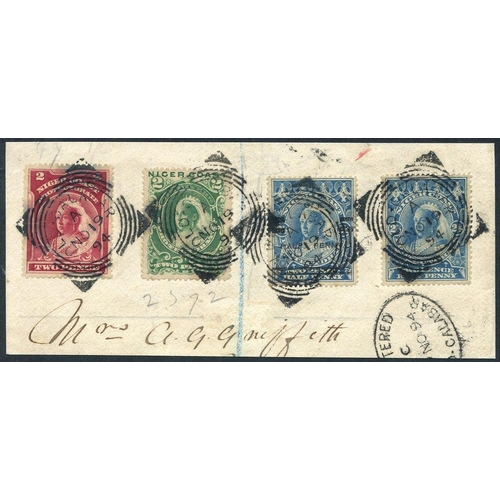 1231 - 1894 ½d on 2½d blue showing variety 'OIE' for 'ONE' used with 1894 (Jan) 2d & (May) 2d & 2½d on piec...