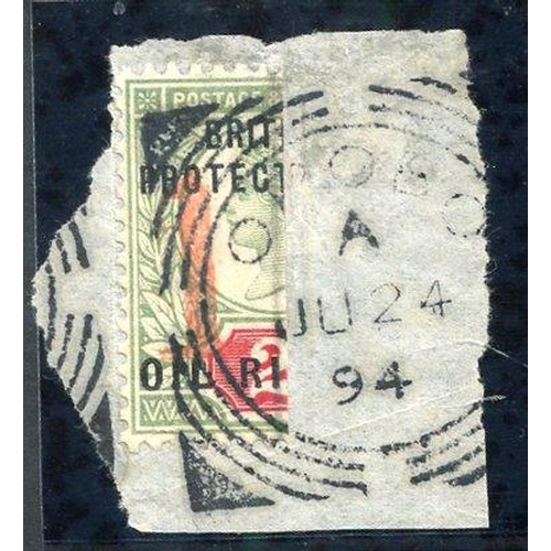 1232 - 1894 '1' (12mm) on half 2d green & carmine (Jun-Oct), a left half on small piece, clearly tied by Op...
