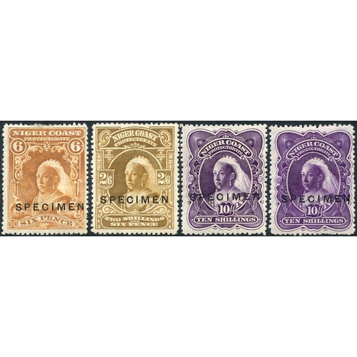 1233 - 1897-98 6d (a few perfs thinned at top), 2/6d, 10s deep violet & 10s bright violet, each ovptd 'SPEC...