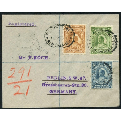 1234 - 1900 (27 Jun) envelope reg to Berlin, bearing 1897 ½d, 2½d & 6d, each tied by 'REGISTERED/NEW CALABA...