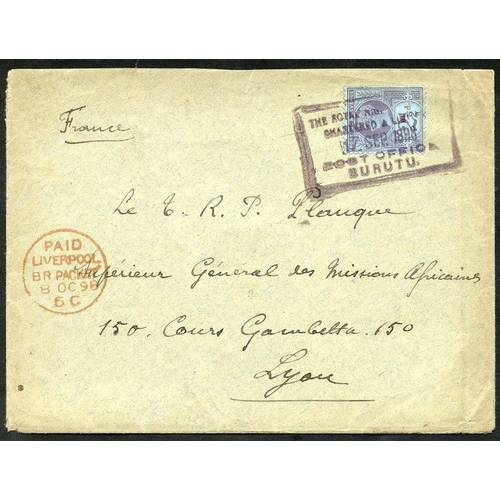 1235 - 1898 (17 Sep) envelope to France bearing GB 2½d purple on blue, tied by mainly complete strike in bl...