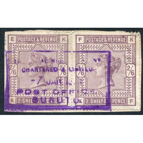1237 - 1899 (7 Jan) fragment bearing GB 2/6d lilac pair, cancelled by large part strike for single in viole...