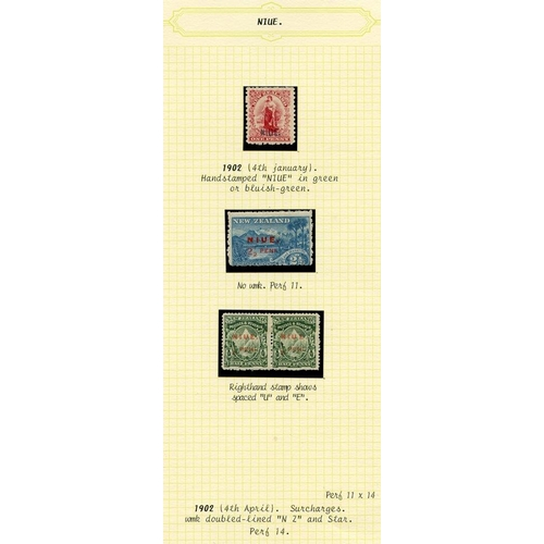 1249 - Collection on leaves, 1902 1d carmine M, SG.1 (1985 BPA Cert), 1902 (April) ½d pair - one with space...