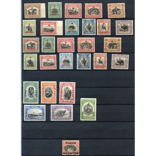 1253 - Collection on five double sided stock leaves with few earlier Arms 1894 $5, $10 + Revenue $25 (all c...