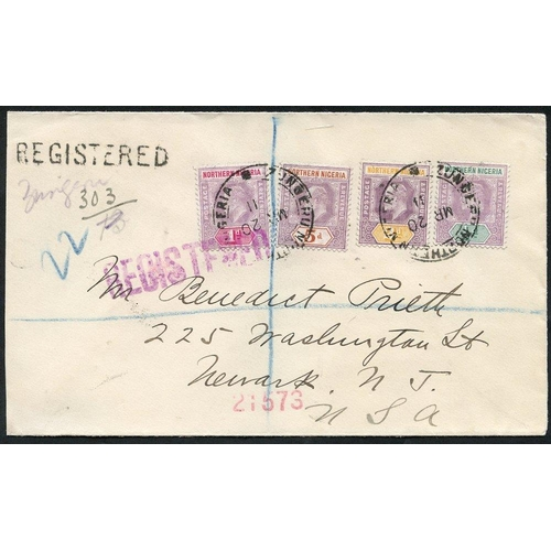 1258 - 1911 (20 Mar) envelope reg to USA bearing KEVII ½d, 1d, 2d & 5d, all tied by 'ZUNGERU/NORTHERN NIGER...