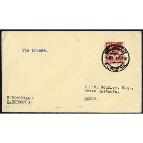 1263 - 1939 Jan 4th first flight cover Fort Jamieson - Lusaka and on to Mongu via Livingstone, b/stamped Li...