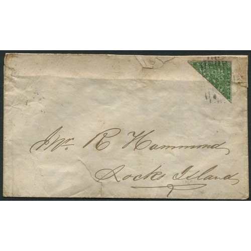 1265 - 1860 cover addressed to Rocks Island, franked with 6d dark green bisected, tied by barred oval h/sta...