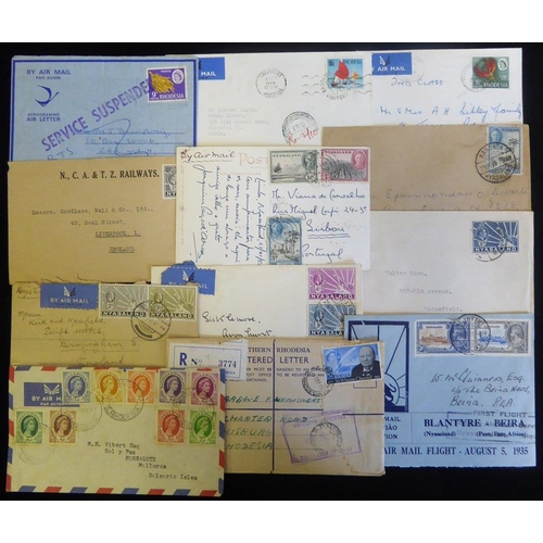 1266 - 20thC KGV adhesives 3d & 4d on airmail cover, cancelled LUJIRE to UK and 2d & 9d vals reg ZOMBA to U...
