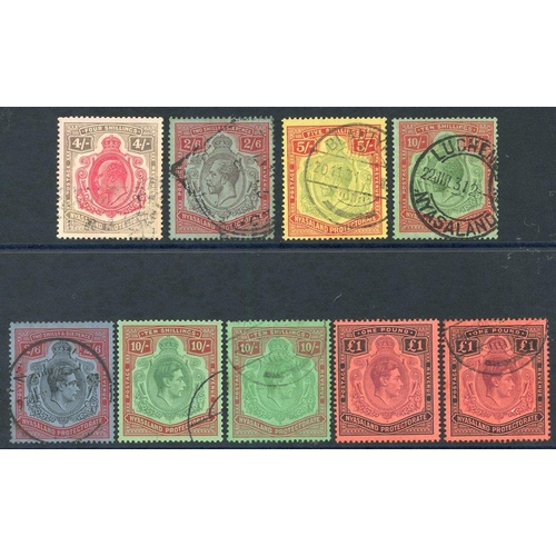 1268 - 1908 4s carmine & black, U (colour slightly washed), SG.79, 1913-21 2/6d U, SG.94, 5s U, SG.112, 10s...