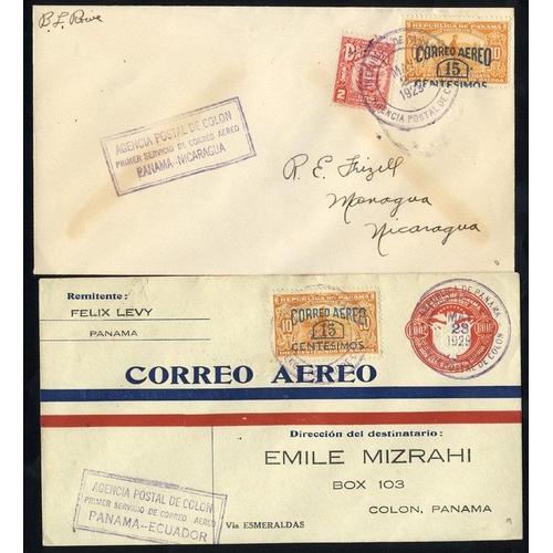 1276 - 1929 first flight covers, PAA Colon/Havana (125 Flown), Colon/Tela-Honduras (139 flown), Colon/Manag...