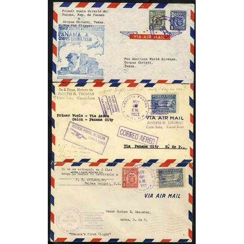 1278 - 1931 first flight covers, National Mail Service by seaplane 28.11.31 Panama/Puerto Armuelles with sp...