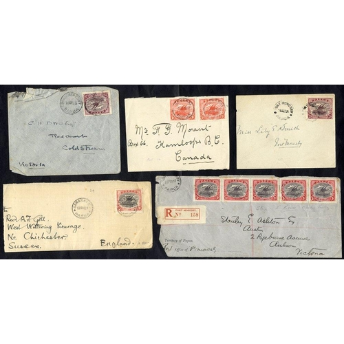 1281 - 1917-24 covers (4) & fronts (2) addressed to UK, Canada & Australia, each with Lakatoi frankings of ...