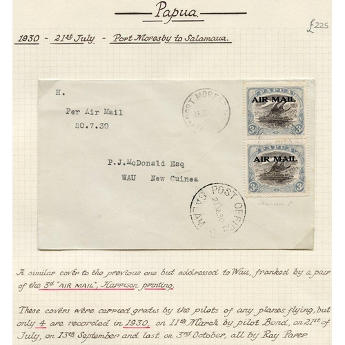 1282 - Papua: Airmails: 1930 (July 21) Port Moresby-Salamaua-Wau flown cover, fine and rare....