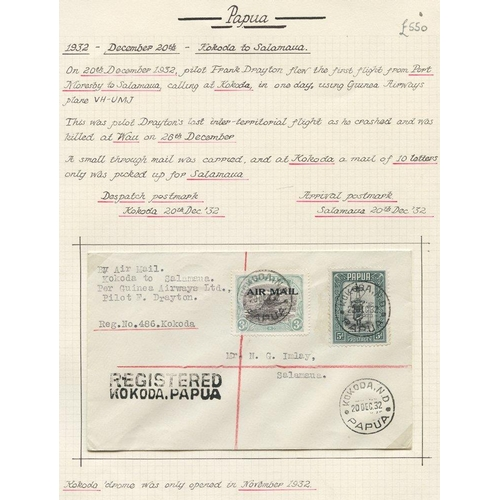 1284 - 1932 (Dec 20) Kokoda-Salamaua flown cover by F Drayton, fine & rare. Drayton and his passenger were ...