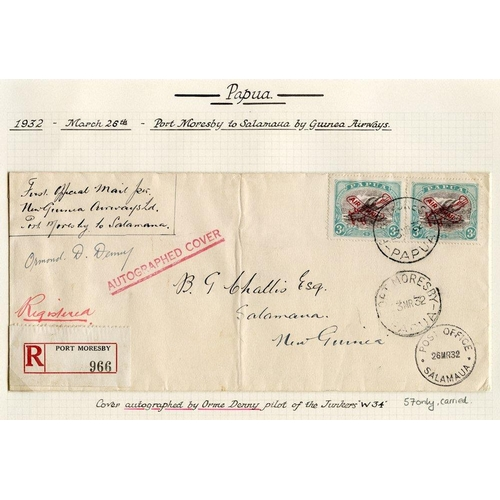 1285 - 1932 (Mar 23) Port Moresby-Salamaua flown registered cover, signed by the pilot Orme Denny. AAMC P44...