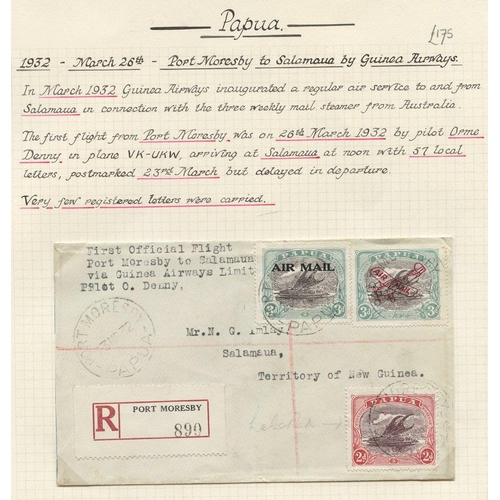 1286 - 1932 (Mar 26) Port Moresby-Salamaua registered flown cover by pilot Orme Denny, fine. AAMC P44 (57 f...