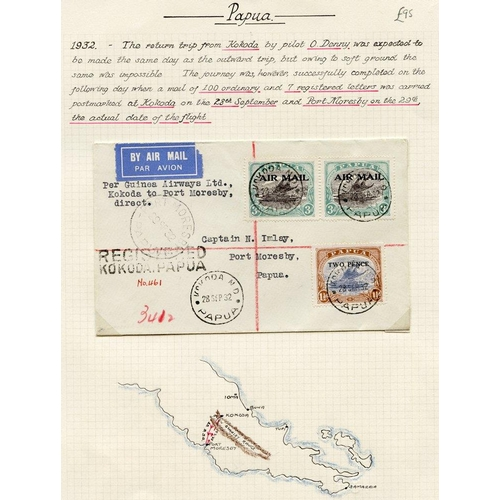 1287 - 1932 (Sept 28) Kikoda-Port Moresby flown registered cover by the pilot Orme Denny, 107 item flown of...