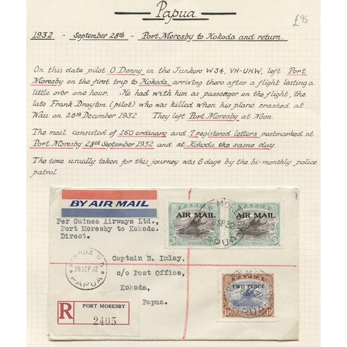 1288 - 1932 (Sept 28) Port Moresby-Kokoda, registered flown cover, fine. (157 flown of which seven were reg...