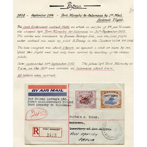 1289 - 1932 (Sept 30) Port Moresby-Salamaua registered flown cover, fine....